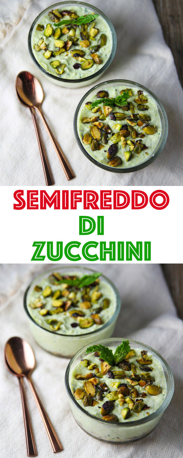 I'm proud to announce my latest creation, a new version of a classic dessert! This Semifreddo Di Zucchini is a lighter dessert using Zucchini, Coconut, Mint, Cream, and Pistachios creating a scrumptious frozen treat!