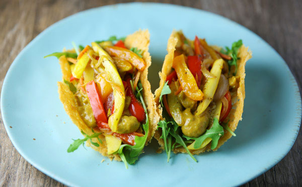 These Vegan Veggie Parmos Tacos are a great healthy, low carb, and gluten free alternative to regular tacos! Using Vegan Parmesan Cheese to make these taco shells really kicks the flavor of this up a notch!