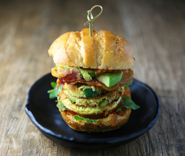 This Zucchini Frittata Burger really puts a new spin on brunch! Load it up with your favorite toppings and you have a delicious filling meal!