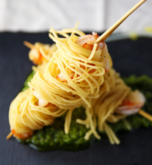 These Deep Fried Shrimp Skewers Wrapped in Spaghetti (Gluten Free) are a tasty delightful appetizer that everyone will love!