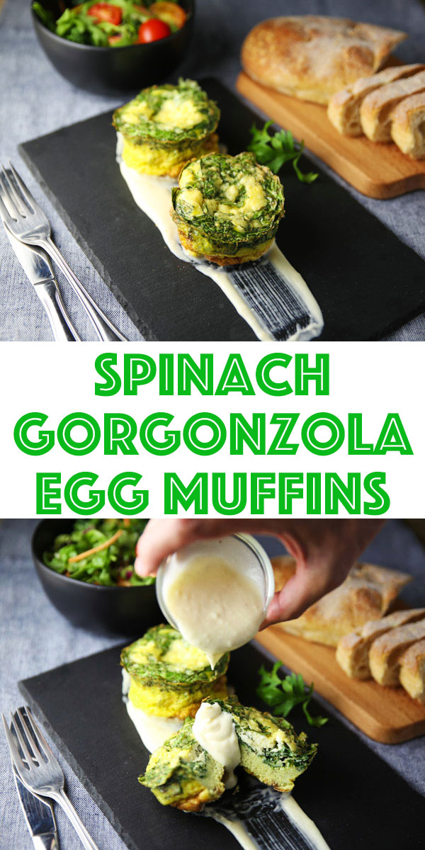 Kicking Brunch up a notch with these Spinach Gorgonzola Egg Muffins! These are rich, savory, and full of flavor!