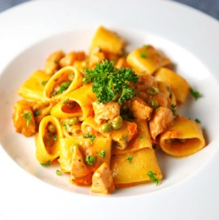 Calamarata with Fresh Salmon and Peas in a Light Vodka Pink Sauce