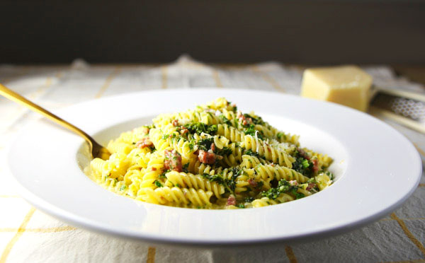 This Sautéed Rotini with Chorizo and Creamy Kale Sauce is so rich and savory! This comes together in about 15 minutes making it perfect for those busy weeknights!