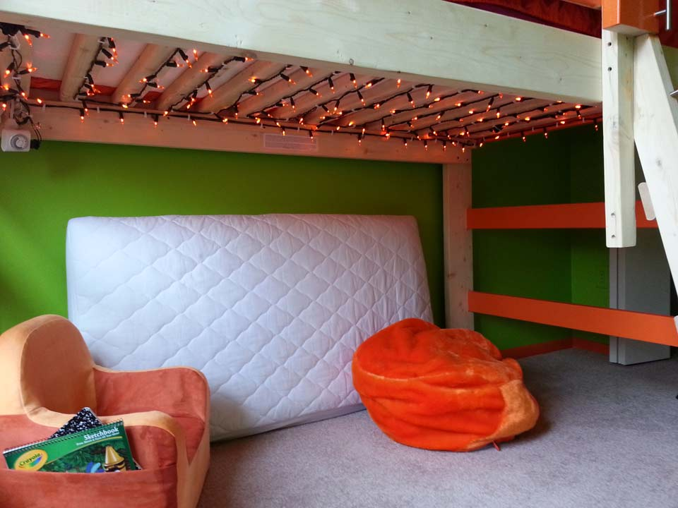 Check out the LED lights beneath the lofted bed!