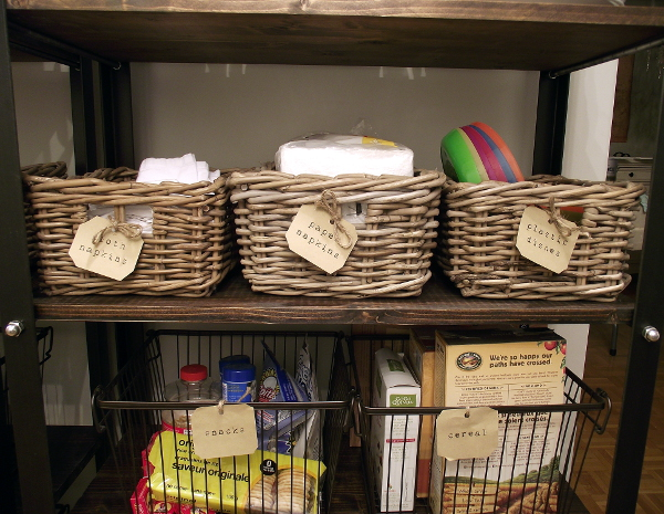 organized open shelves up close