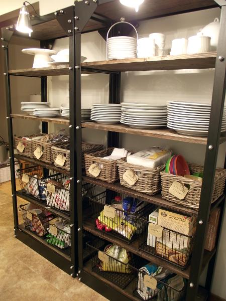 organized open shelves