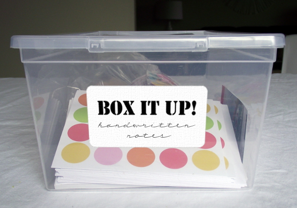 box it up handwritten notes with label
