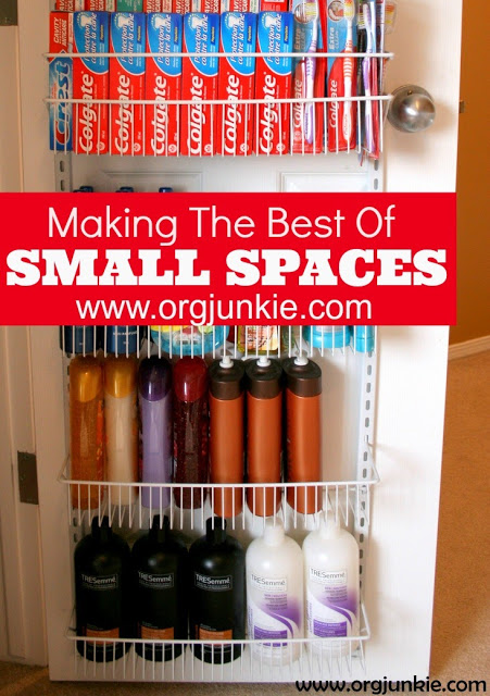 Making the Most of Small Spaces with an over the door rack at I'm an Organizing Junkie
