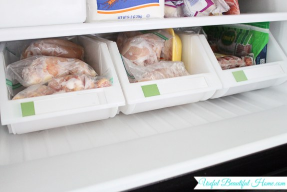 Perfect bins used in a top freezer for organizing contents
