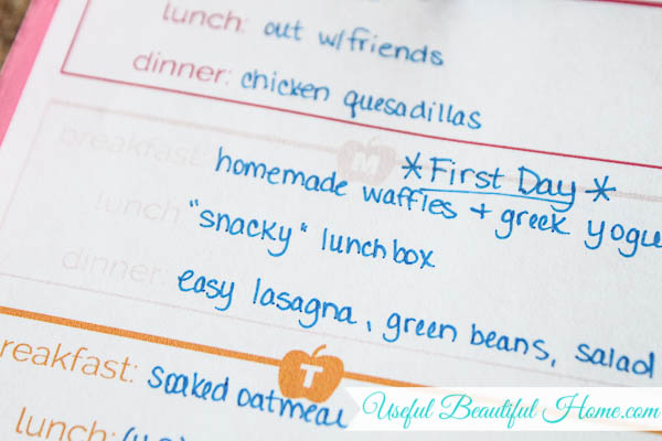 Plan breakfasts for the week to provide energy for your child's brain cells