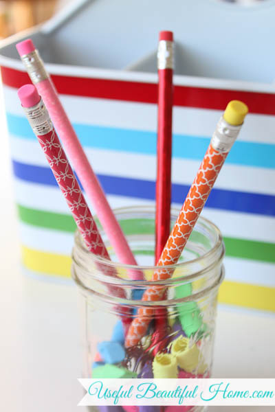 jelly jars hold essential homeschool tools