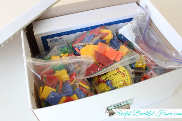 Saxon math manipulatives fit inside this Ikea storage box