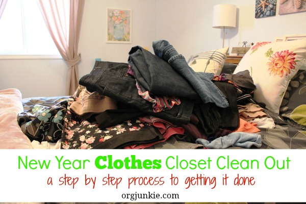 New Year Clothes Closet Clean Out - a step by step process to getting it done at I'm an Organizing Junkie blog