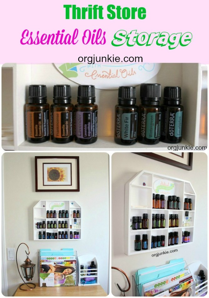 Thrift Store Essential Oils Storage at I'm an Organizing Junkie blog