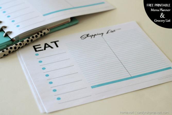 Free Printable Menu Planner & Grocery List