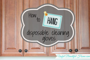 Using the inside of cabinet doors to hang a box of cleaning gloves