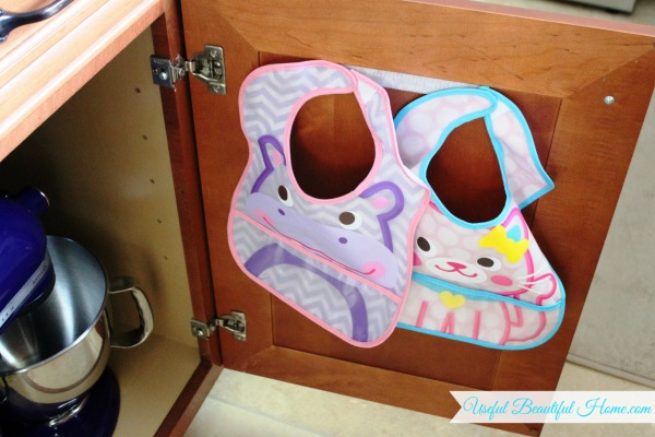 How-to-organize-toddler-bibs-behind-closed-doors-using-Velcro