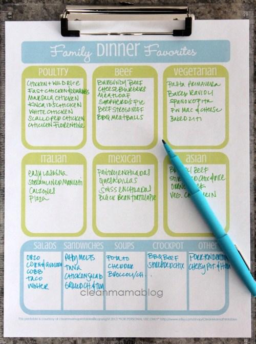 menu planner clean mama