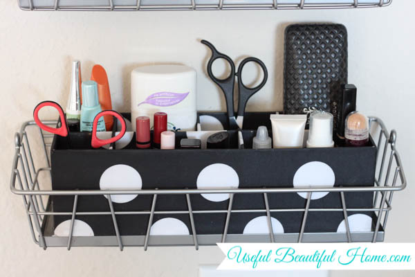 condensing and organizing vertically in the bathroom