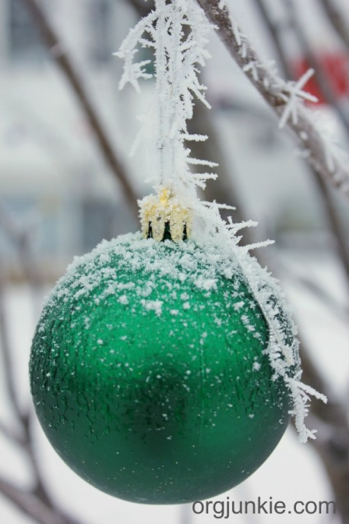 Beautiful frost on green ball tm