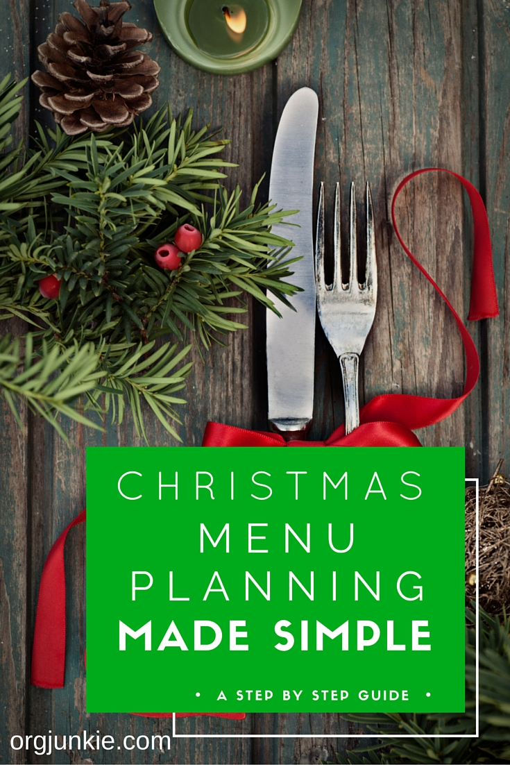 Christmas Menu Planning Made Simple at I'm an Organizing Junkie blog