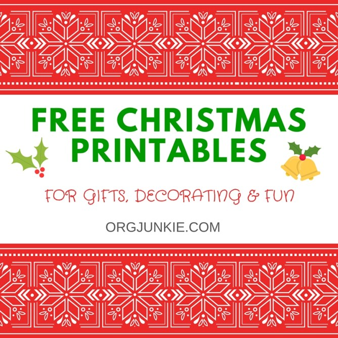 FREE Christmas PRINTABLES for gifts, decorating and fun at I'm an Organizing Junkie blog
