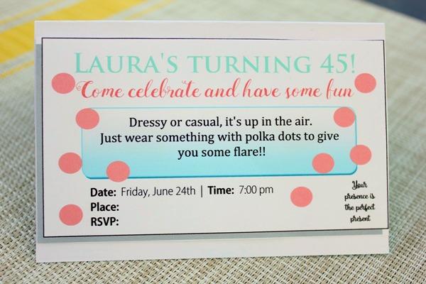 polka dot invitation inside