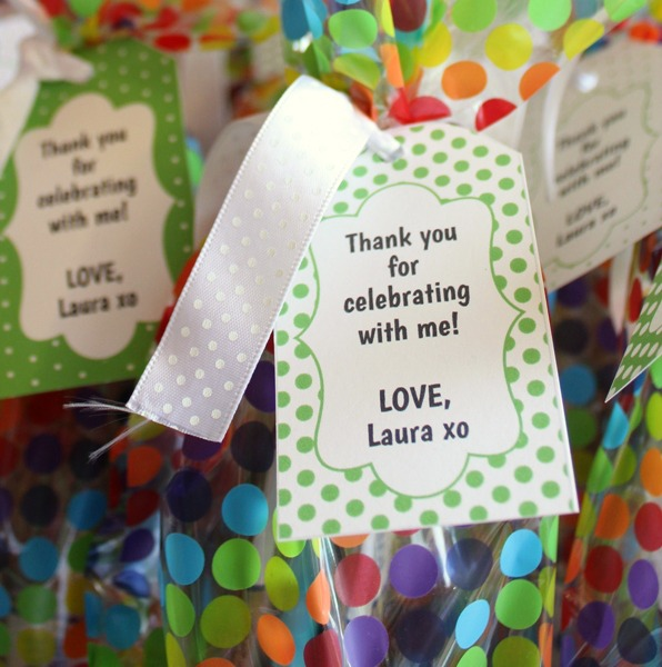 polka dot party favor tags
