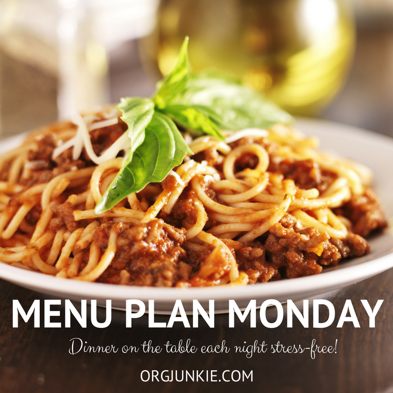 Menu Plan Monday for the week of Aug 27/18 - weekly dinner inspiration to help you get dinner on the table each night with less stress and chaos