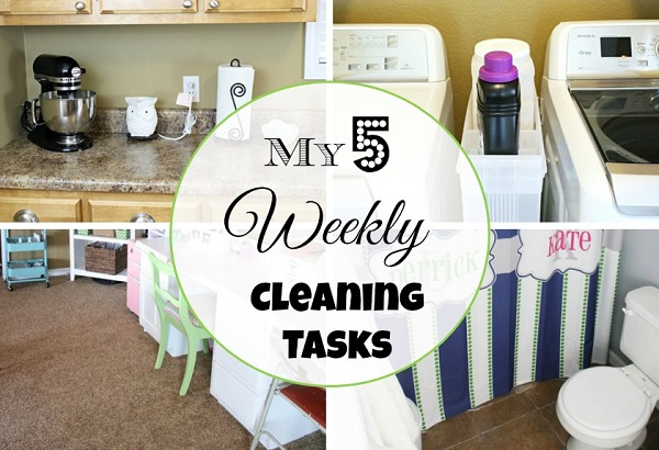 A Busy Mom's Top 5 Weekly Cleaning Tasks at I'm an Organizing Junkie blog
