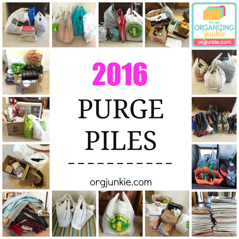 2016 Purge Piles at I'm an Organizing Junkie blog