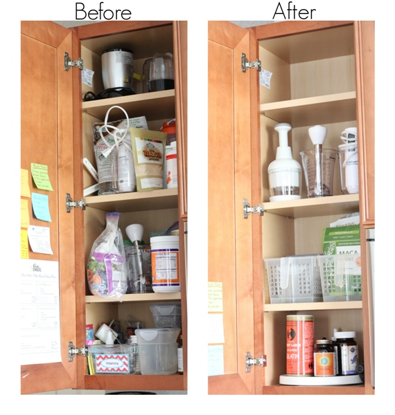 smoothie cabinet organizatio - before and after