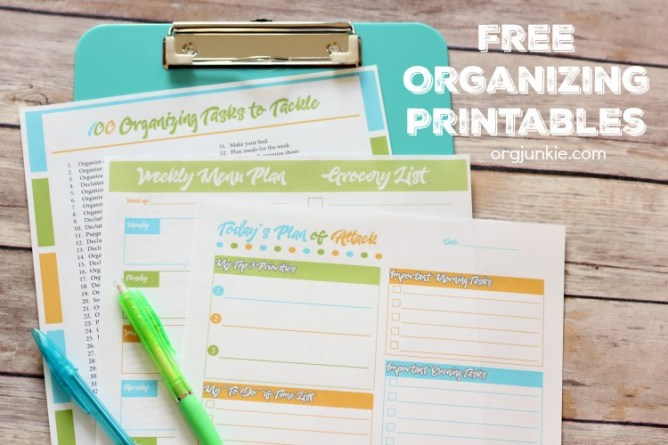 Free Organizing Printables for an Organized Day and Week at I'm an Organizing Junkie