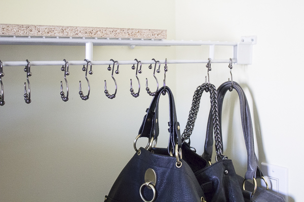 An easy inexpensive way to organize all your purses in for Hooks to hang purses