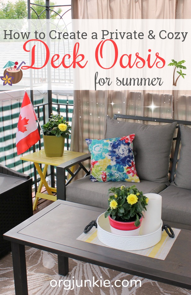 How to Create a Private & Cozy Deck Oasis for Summer at I'm an Organizing Junkie blog