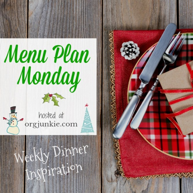 Menu Plan Monday for the week of Nov 26/18 - weekly dinner inspiration to help you get dinner on the table each night with less stress and chaos at I'm an Organizing Junkie blog