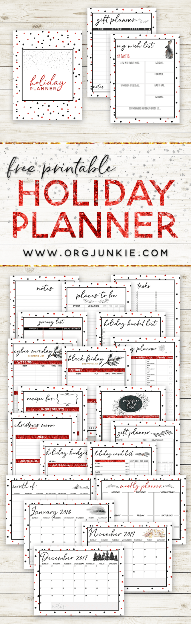2017 FREE Holiday Planner - 27 Printables for the Most Organized Christmas Yet! at I'm an Organizing Junkie blog #christmas #organized #holidayplanner