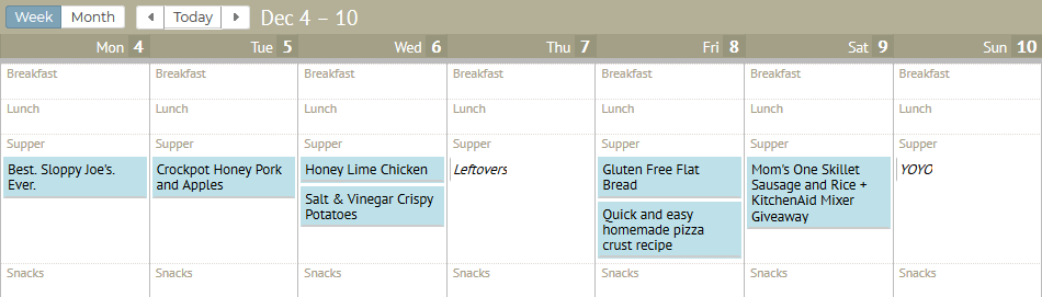 Plan to Eat Menu Planning Tool