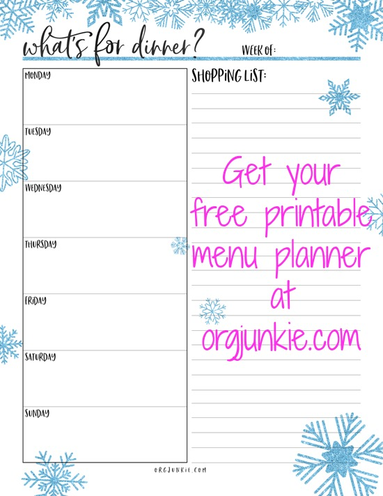 free printable menu planner at I'm an Organizing Junkie blog
