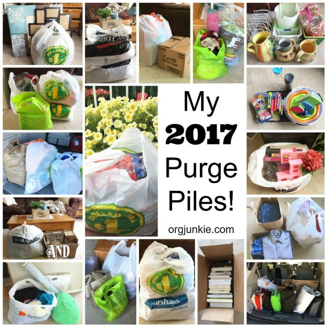 My 2017 Purge Piles - purging one pile of clutter at time for an organized life and home at I'm an Organizing Junkie blog