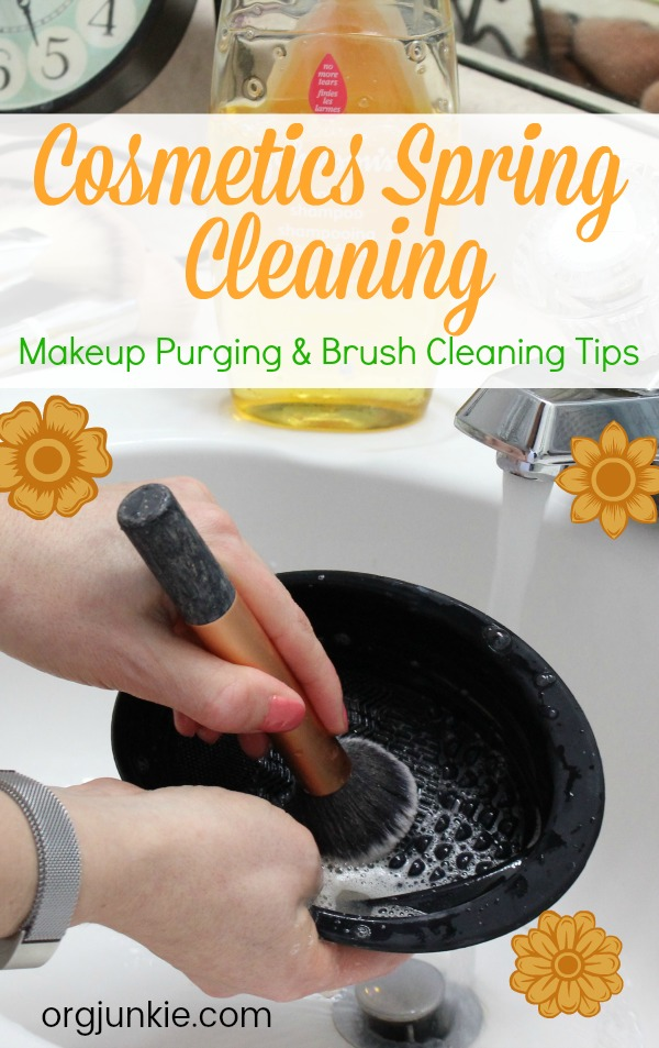 Cosmetics Spring Cleaning: Makeup Purging & Brush Cleaning Tips at I'm an Organizing Junkie blog