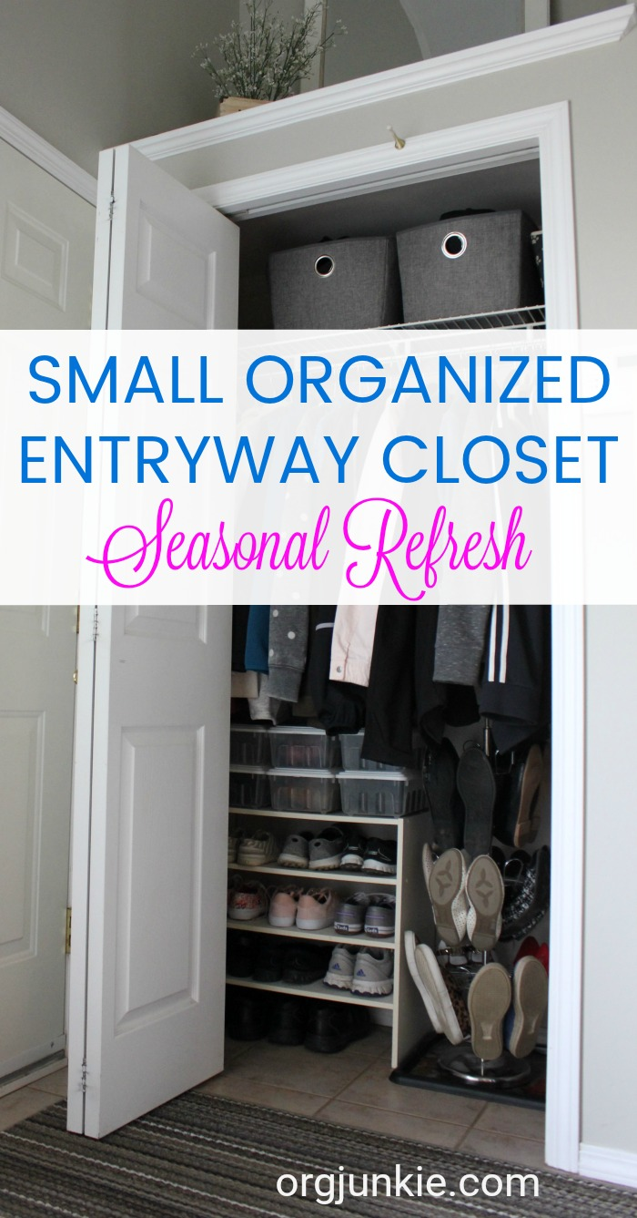 Small Organized Spaces: Entrway Closet at Im an Organizing Junkie blog