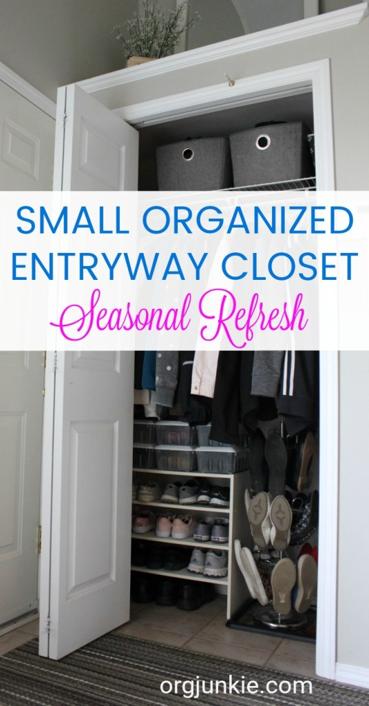 Small Organized Spaces: Entrway Closet at I'm an Organizing Junkie blog