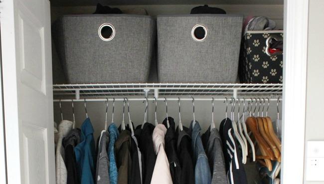 Small Organized Entryway Closet - Seasonal Refresh at I'm an Organizing Junkie
