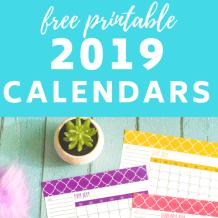 Free 2019 Calendars