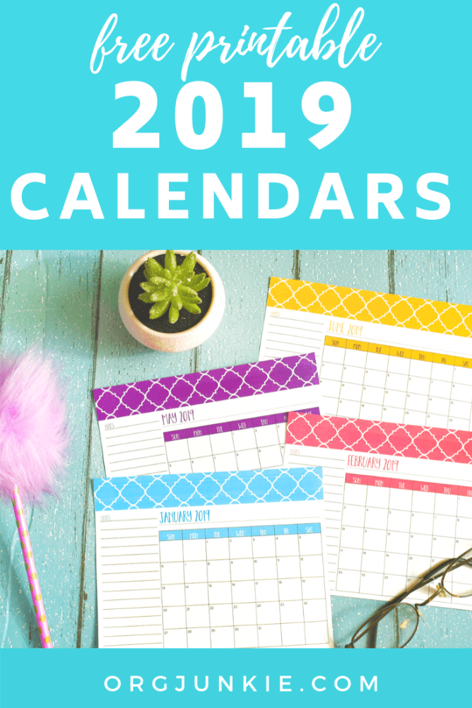 Free Printable 2019 Calendars at I'm an Organizing Junkie blog
