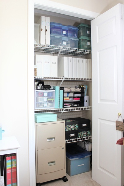 My Organized Office Closet at I'm an Organizing Junkie blog