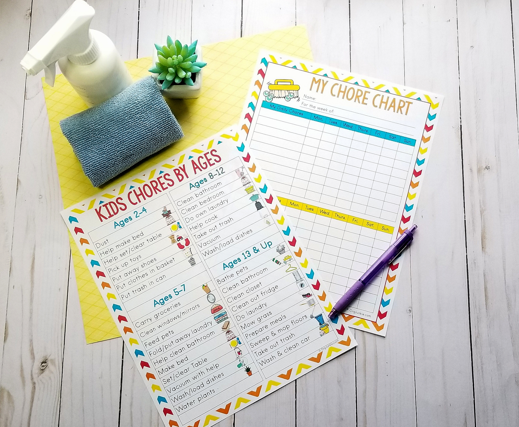 Age appropriate chores with free printable chore chart
