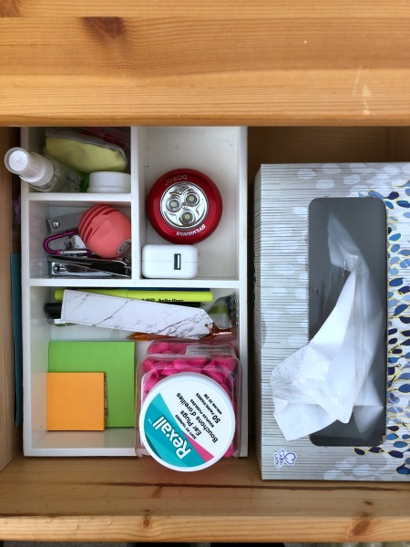 organized nightstand drawer