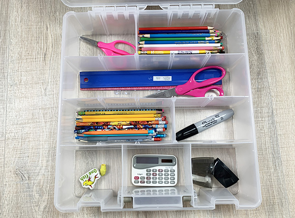 Home Organizing Solutions: Divided Storage Containers for school supplies